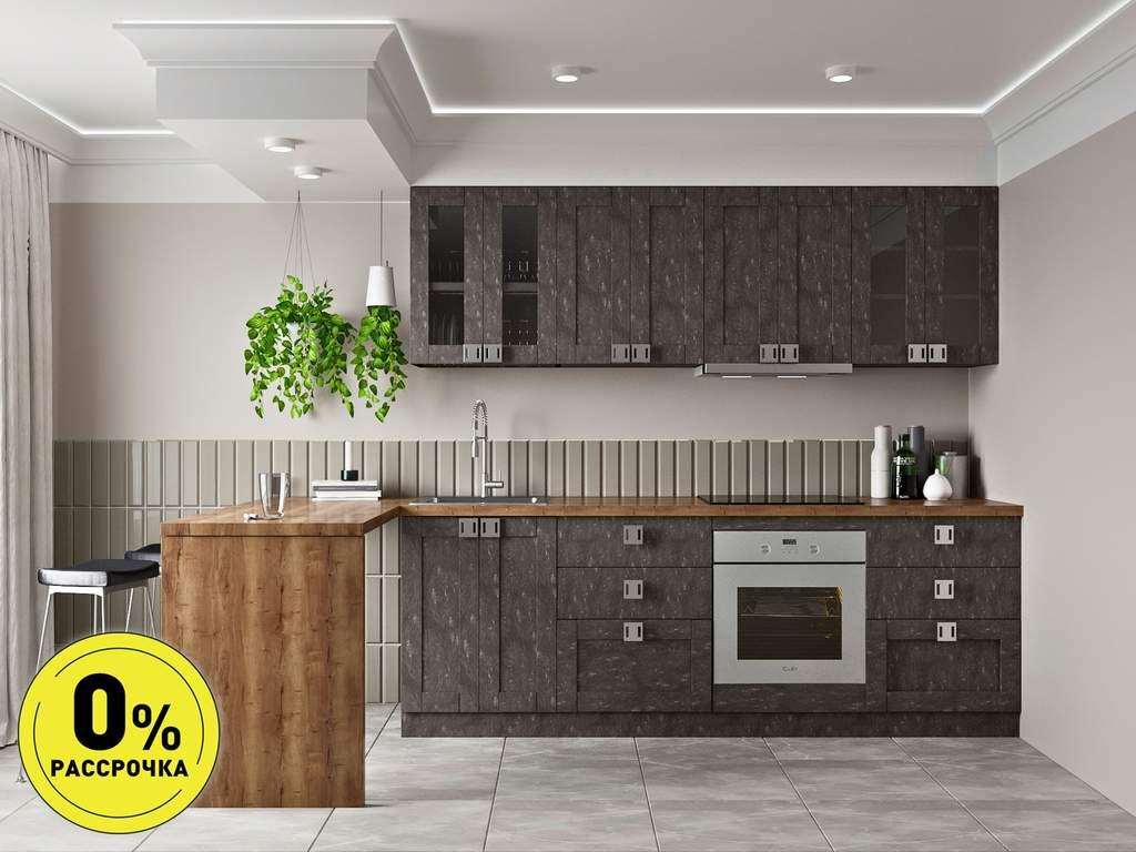 Кухня прямая ТБМ Люкс «Виктория» (2.4 м, темно-серый) Изображение