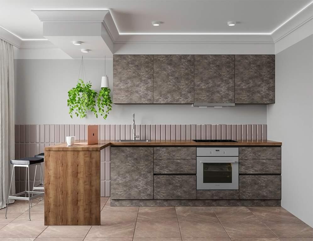 Кухня прямая, Alvic/SYNCRON матовый, темно-серый Изображение