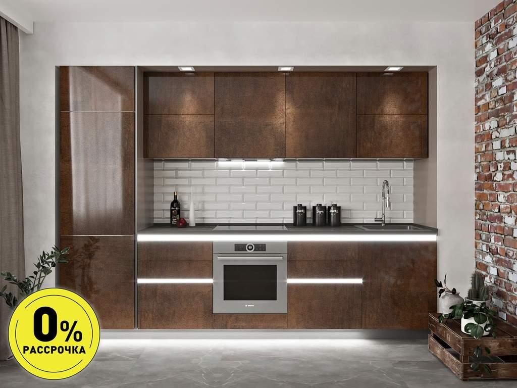 Кухня прямая ТБМ Люкс «Эмилия» (3.0 м, медный) Изображение
