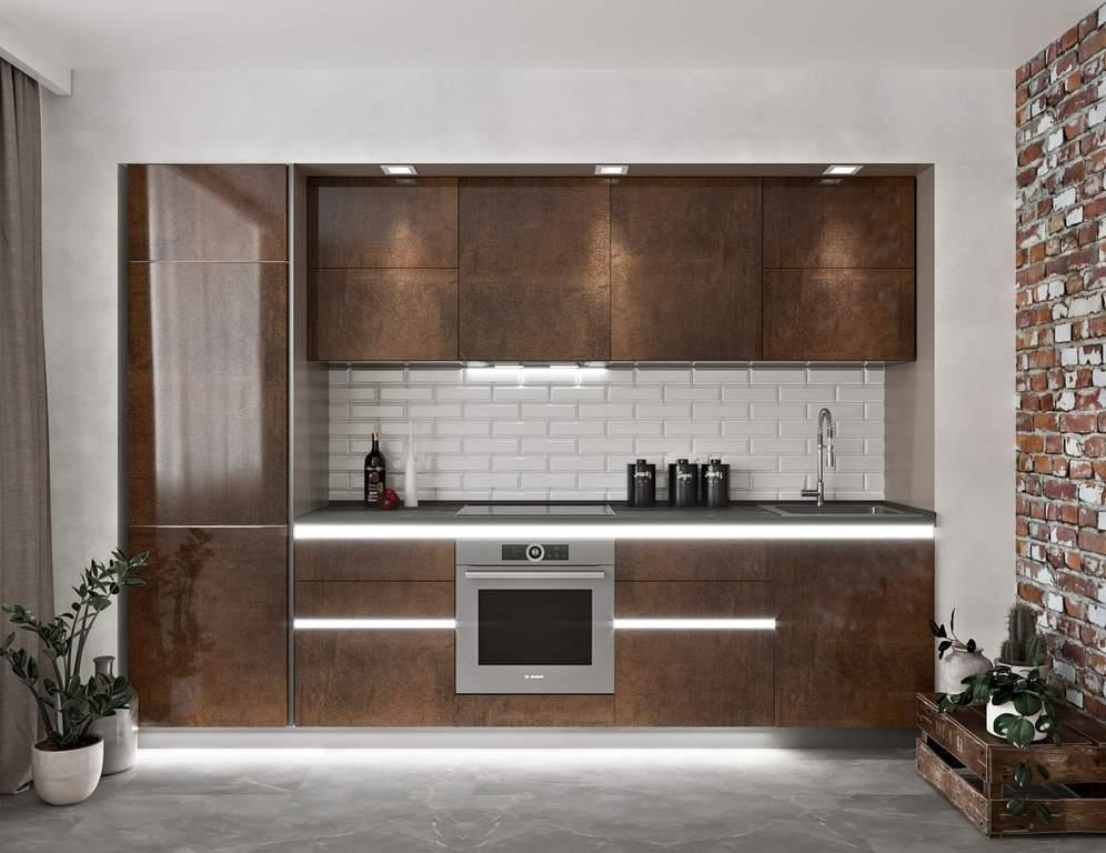 Кухня прямая, Alvic глянец, медный Изображение
