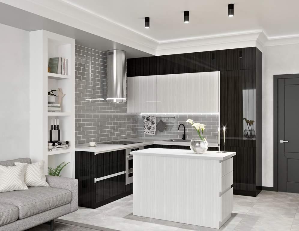 Кухня с островком, AGT глянец, белый/черный Изображение