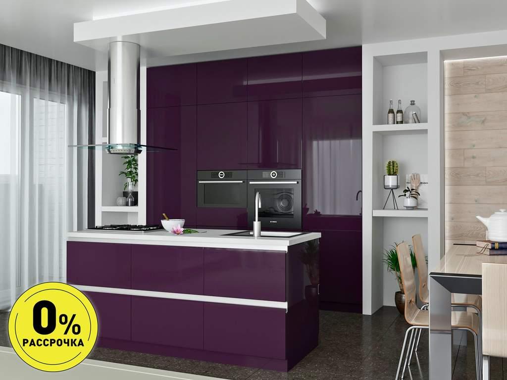 Кухня с островом ТБМ Люкс «Саманта» (2.4x2.1 м, фиолетовый) Изображение