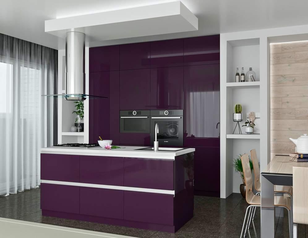 Кухня с островком, AGT глянец, фиолетовый Изображение