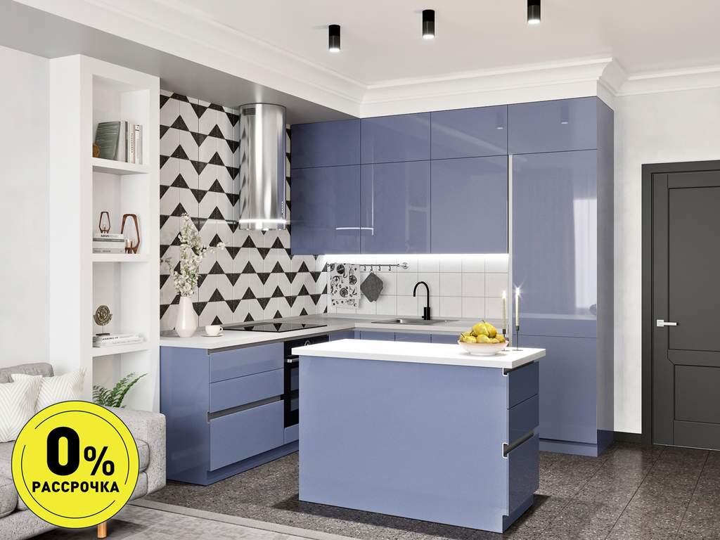Кухня с островом ТБМ Люкс «Джульетта» (2.2x2.4x1.2x0.6 м, светло-синий) Изображение
