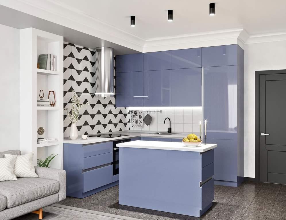 Кухня с островком, AGT глянец, светло-синий Изображение