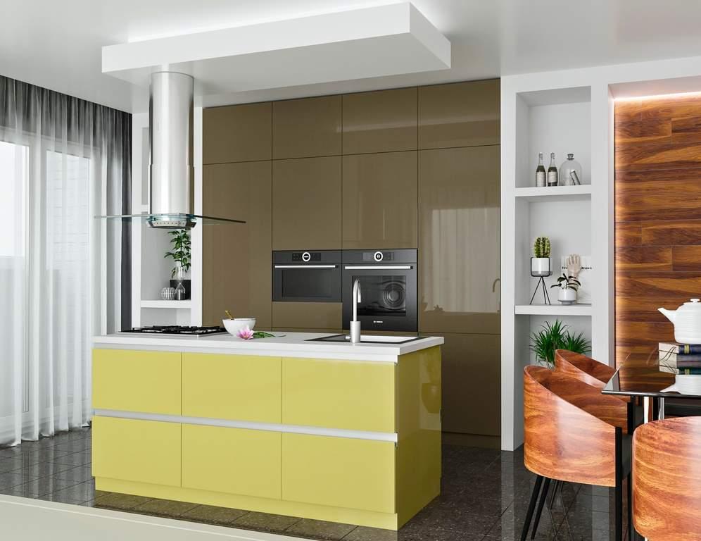 Кухня с островком, AGT матовый, коричневый/светло-желтый Изображение