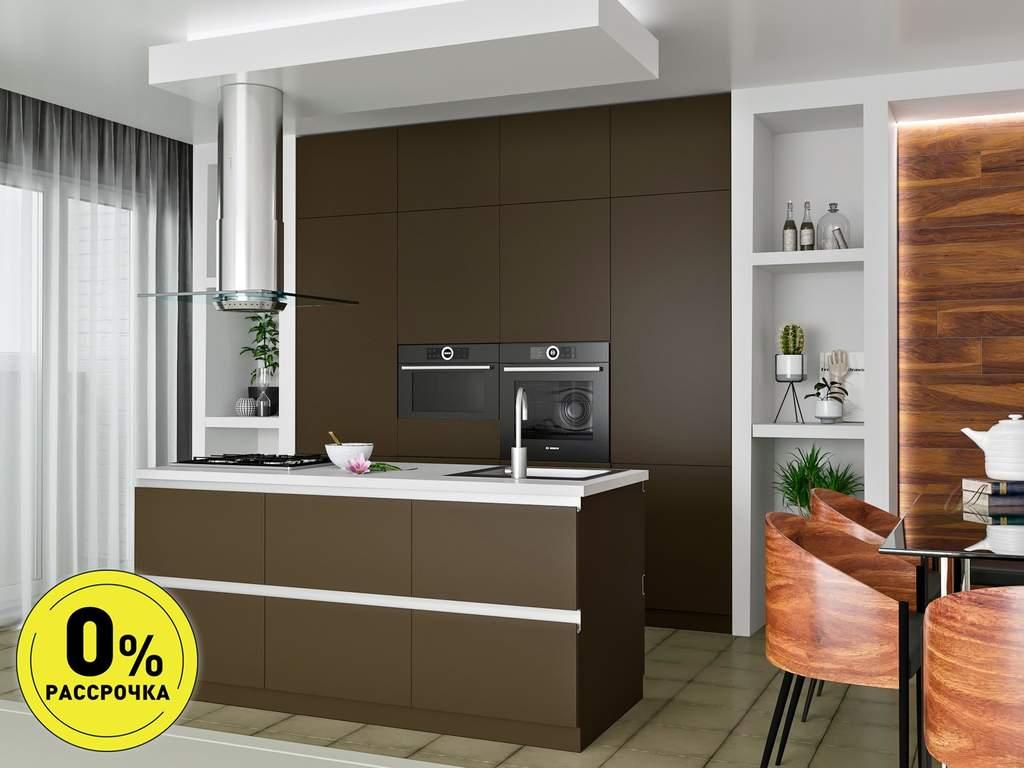 Кухня с островом ТБМ Люкс «Саманта» (2.4x2.1 м, коричневый) Изображение