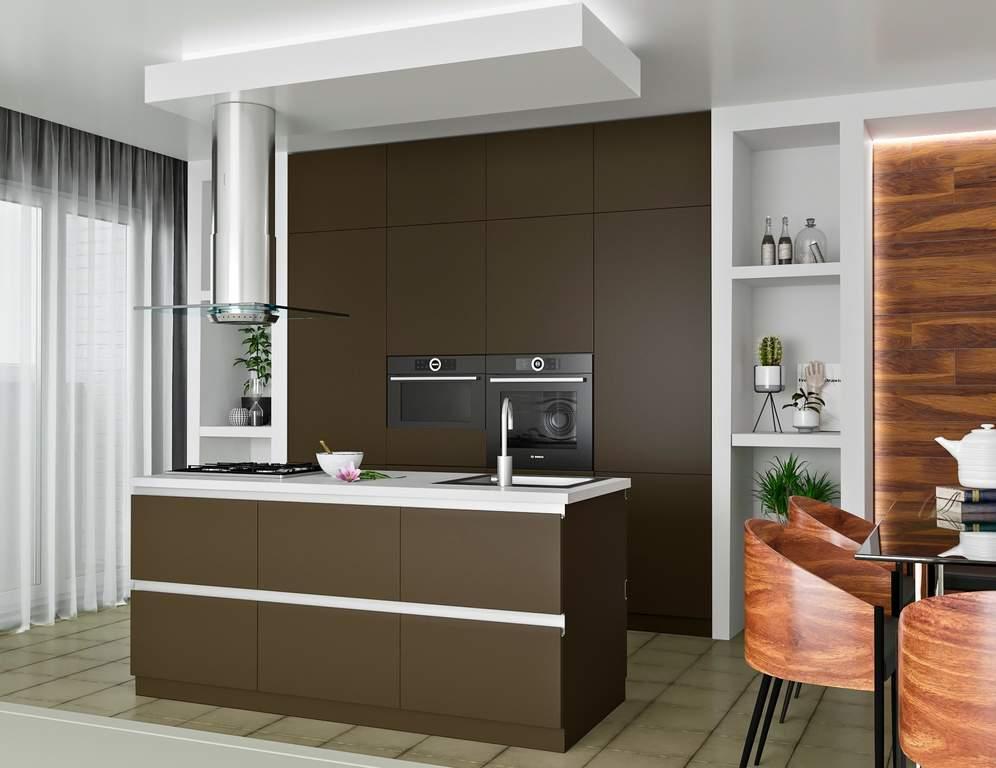 Кухня с островком, AGT матовый, коричневый Изображение