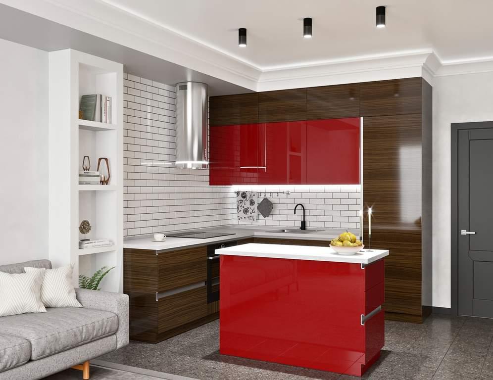 Кухня с островком, AGT матовый, красный/эбеновое дерево Изображение