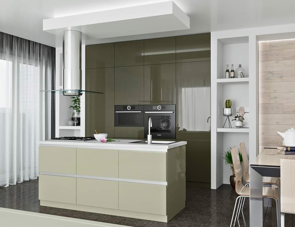 Кухня с островом ТБМ Люкс «Саманта» (2.4x2.1 м, серый/кашемир) Изображение 2