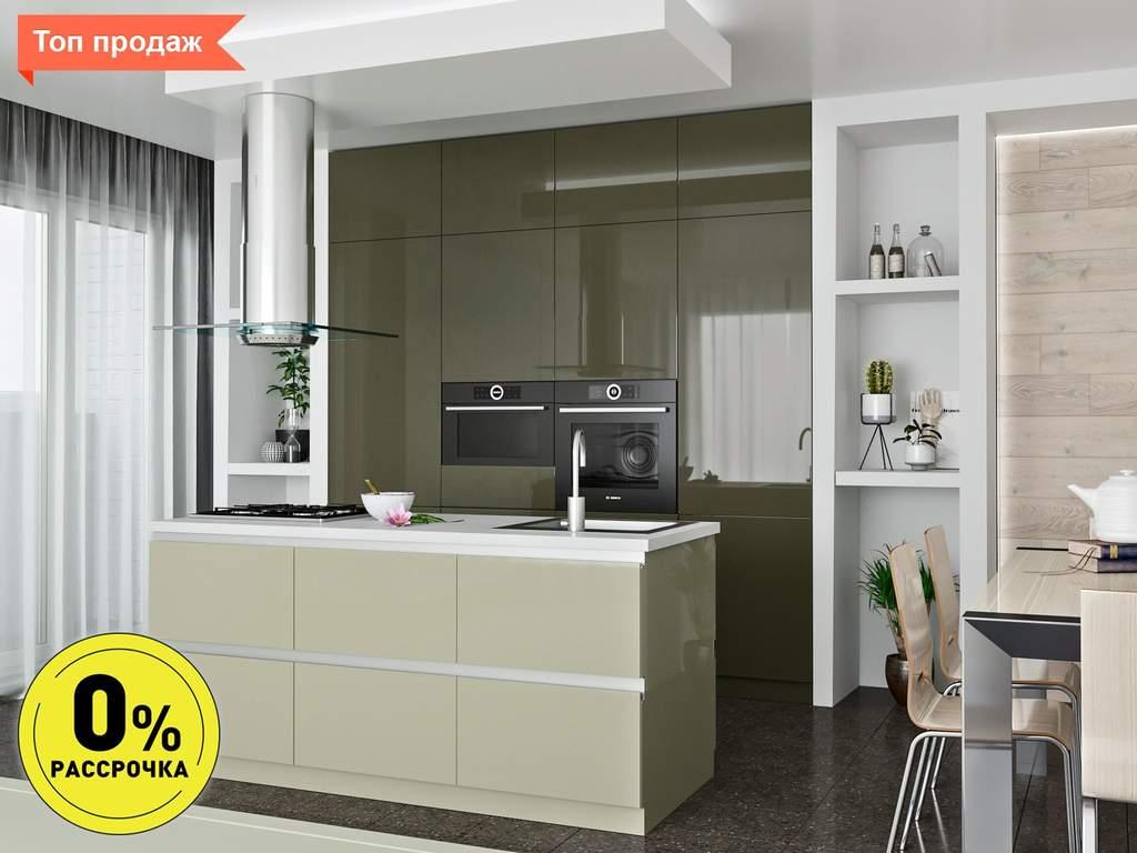 Кухня с островом ТБМ Люкс «Саманта» (2.4x2.1 м, серый/кашемир) Изображение