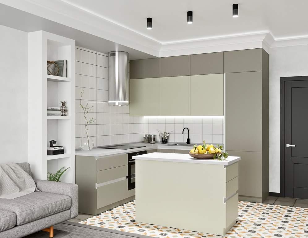 Кухня с островком, AGT матовый, серый/серый камень Изображение