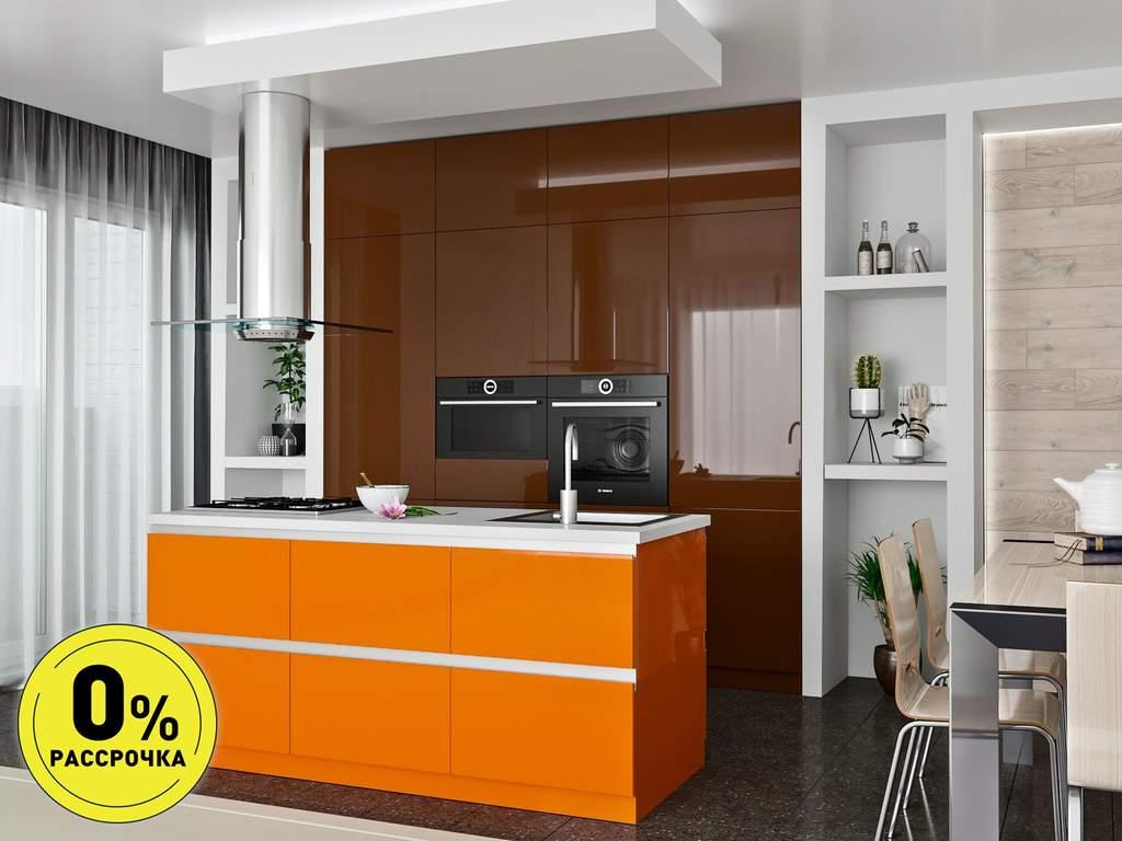 Кухня с островом ТБМ Люкс «Саманта» (2.4x2.1 м, коричневый/оранжево-кремовый) Изображение