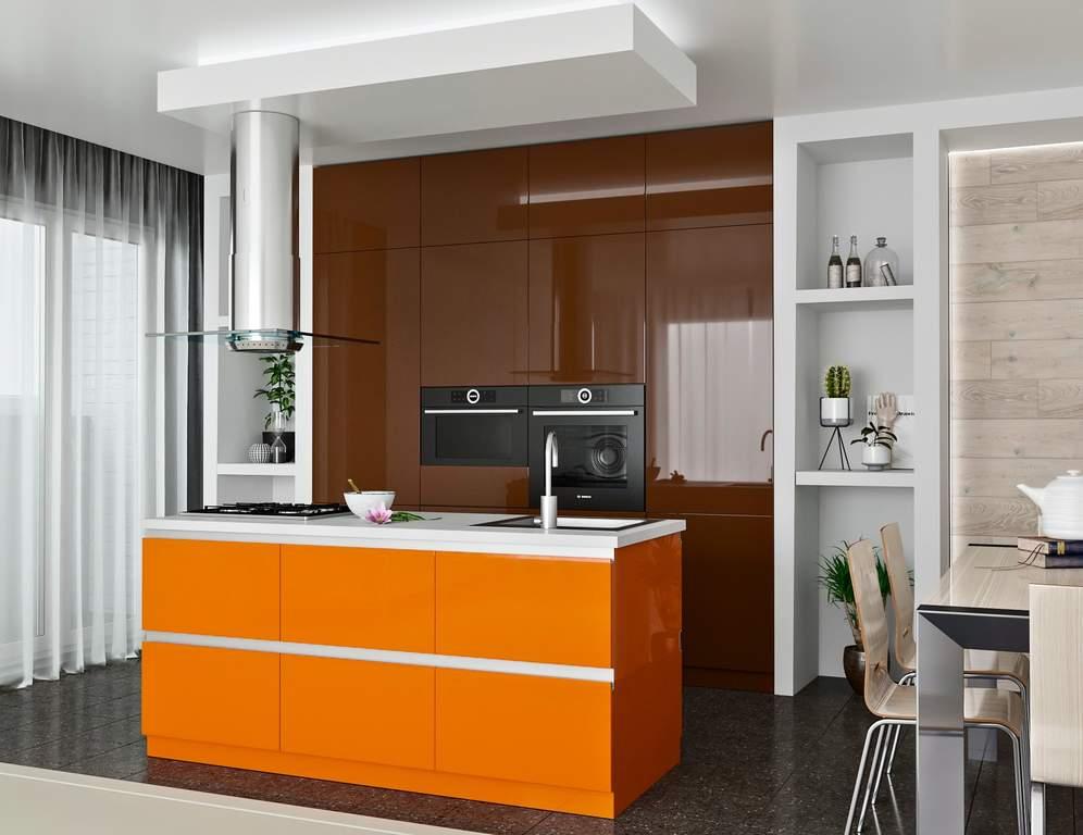 Кухня с островком, AGT матовый коричневый/глянец оранжево-кремовый Изображение