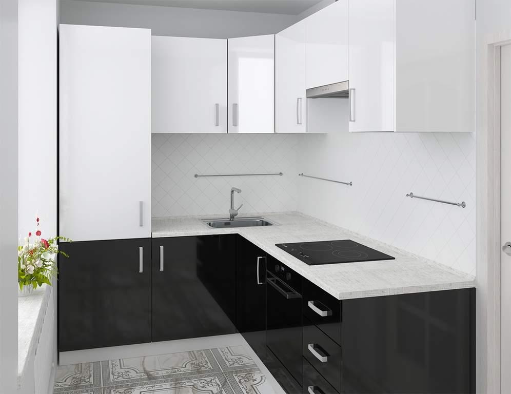 Кухня угловая, AGT глянец, белый/черный Изображение