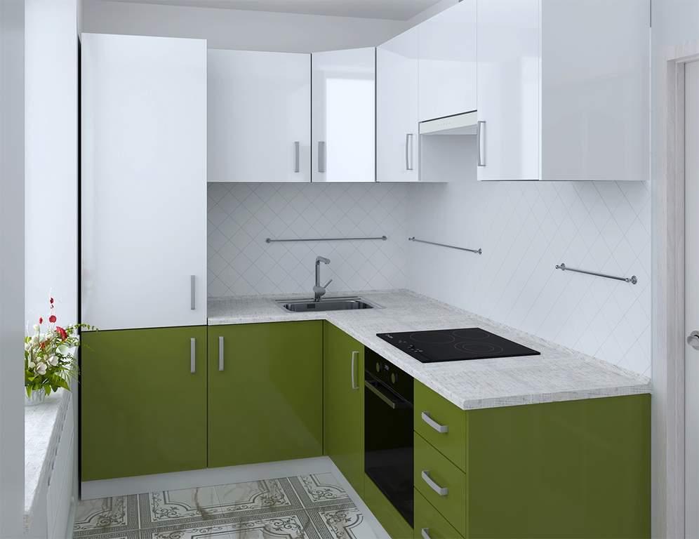 Кухня угловая, AGT глянец, белый/зеленый Изображение