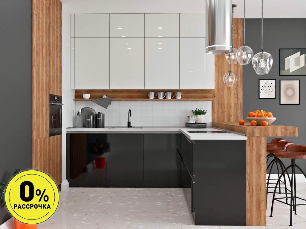 Кухня угловая ТБМ Люкс «Софи» (2.4х1.2 м, черный/белый) Изображение