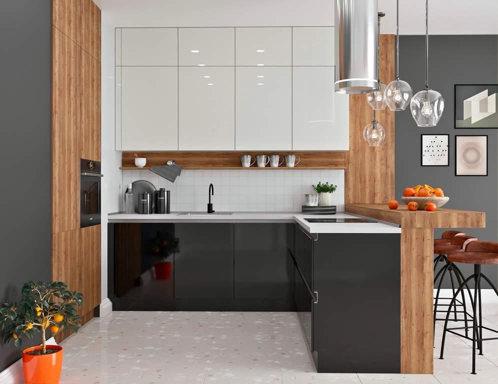 Кухня угловая, AGT глянец, черный/белый Изображение