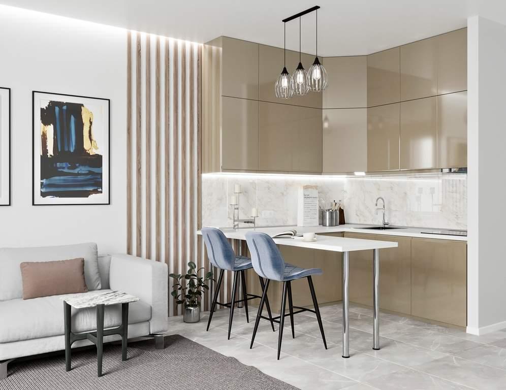 Кухня угловая, AGT глянец, коричневый Изображение