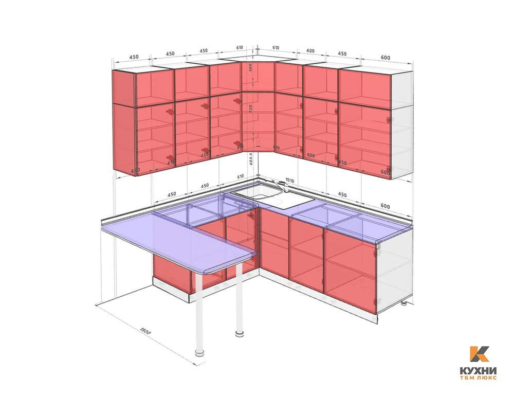 Кухня угловая, AGT глянец, коричневый Изображение 2
