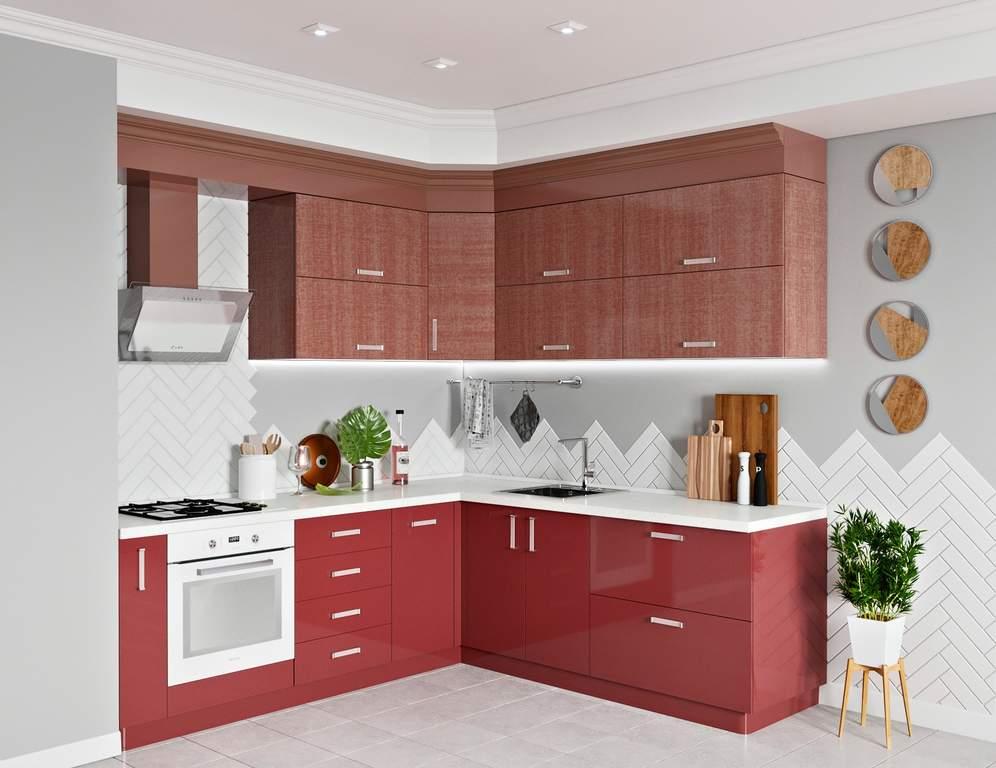 Кухня угловая, AGT глянец, красный Изображение