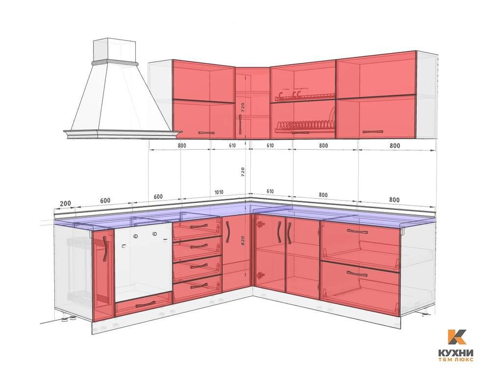 Кухня угловая, AGT глянец, красный Изображение 2