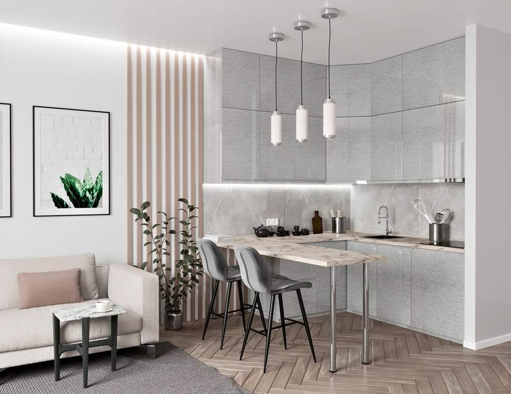 Кухня угловая ТБМ Люкс «Одри» (1.8x1.8 м, серебристый) Изображение