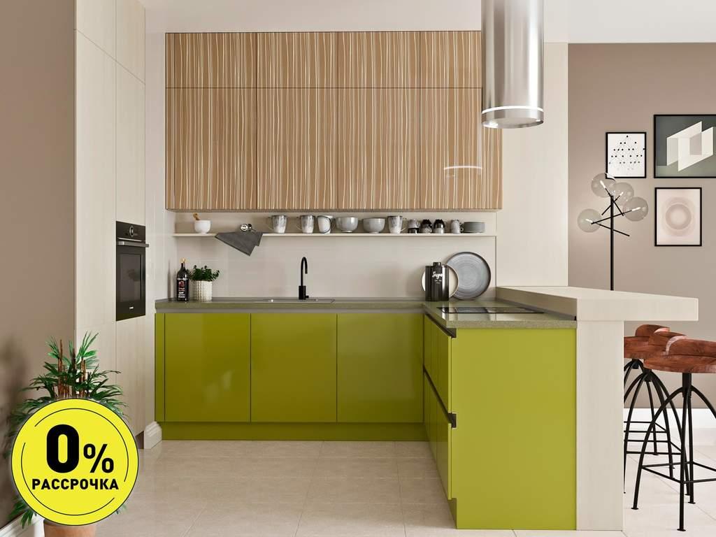 Кухня угловая ТБМ Люкс «Софи» (зеленый/светло-коричневый) Изображение