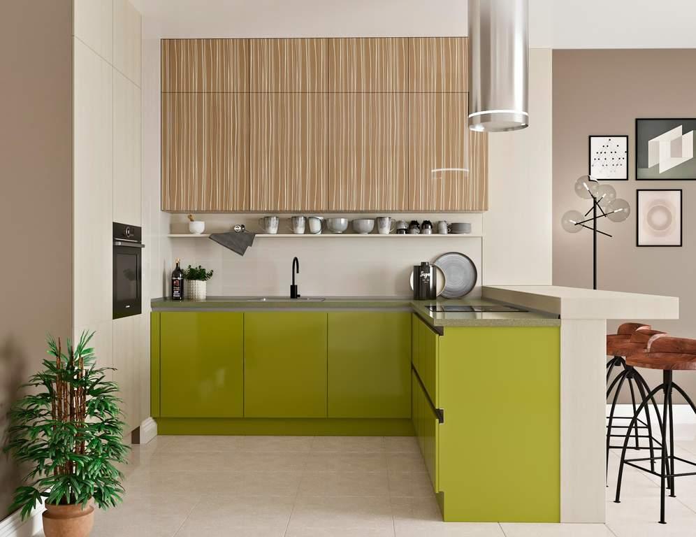Кухня угловая, AGT глянец, зеленый/светло-коричневый Изображение
