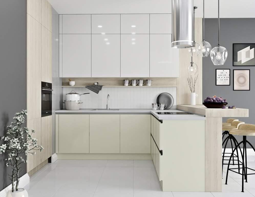 Кухня угловая, AGT глянец белый/матовый молочный Изображение