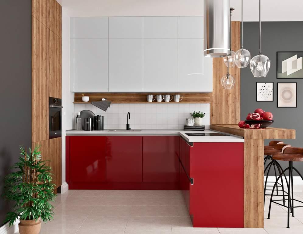 Кухня угловая, AGT глянец красный/матовый белый кашемир Изображение
