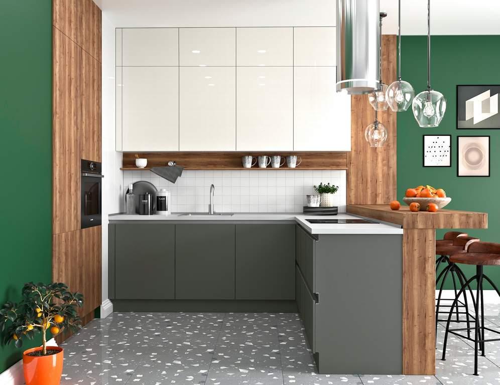 Кухня угловая, AGT глянец серый/матовый белый Изображение