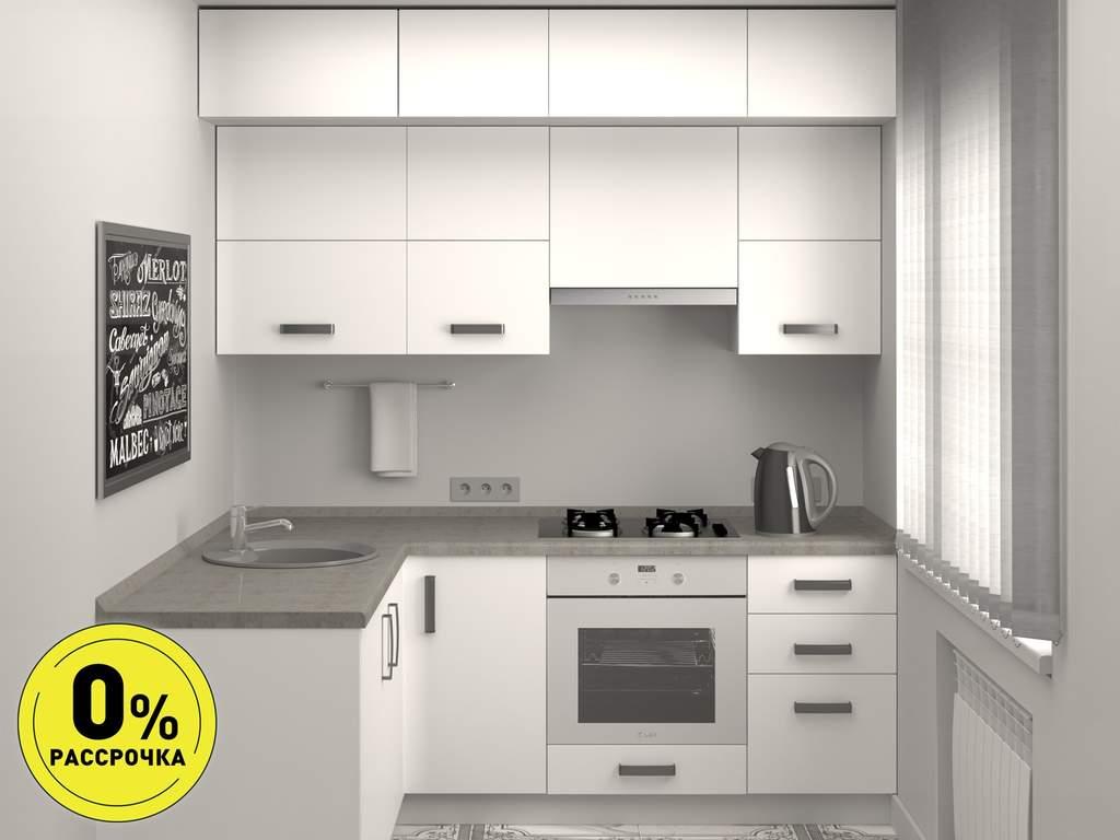 Кухня угловая ТБМ Люкс «Роуз» (1.8x2.1 м, белый) Изображение