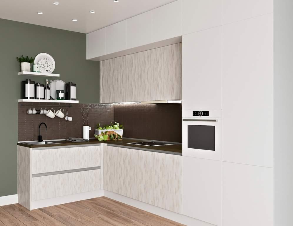 Кухня угловая, Модерн AGT матовый, белый/ кантри серый Изображение
