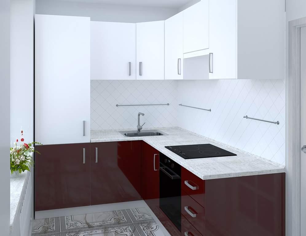Кухня угловая, AGT матовый белый/глянец бордо Изображение