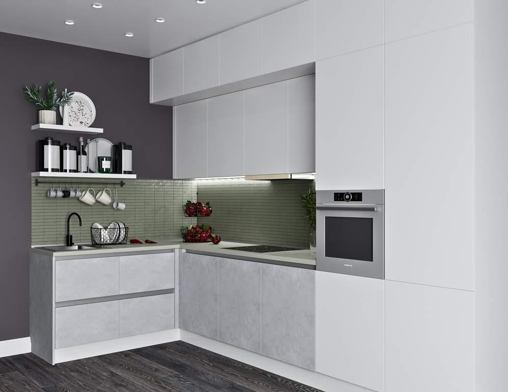 Кухня угловая, Модерн AGT матовый, белый/светло-серый Изображение
