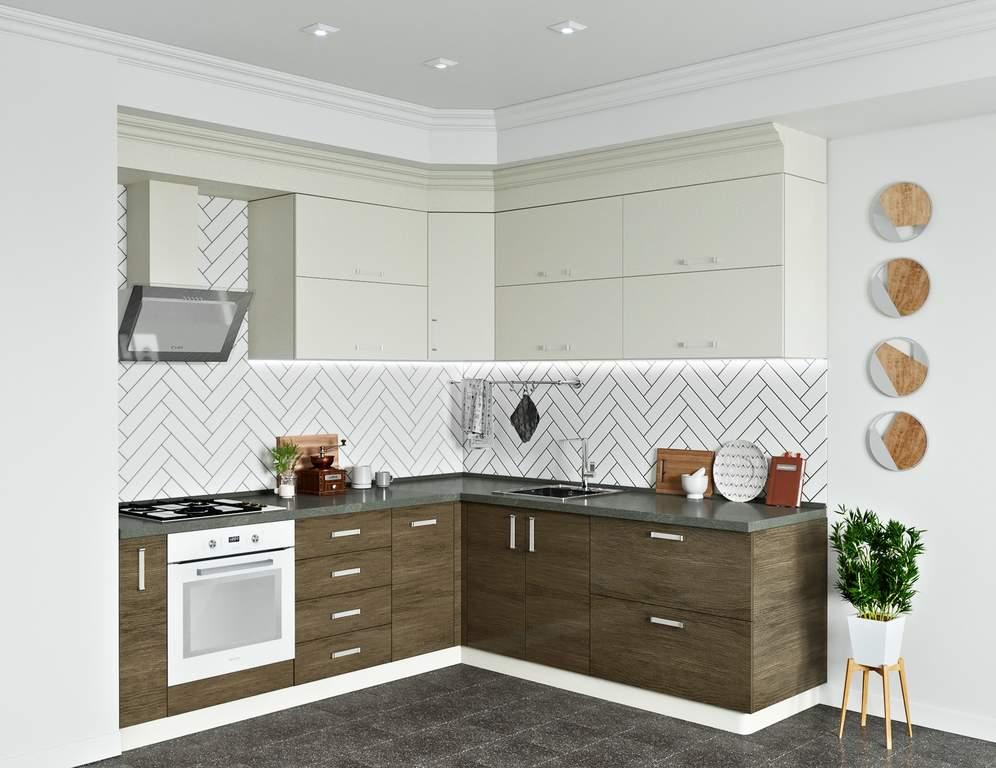 Кухня угловая, AGT матовый, кашемир/светлое дерево Изображение