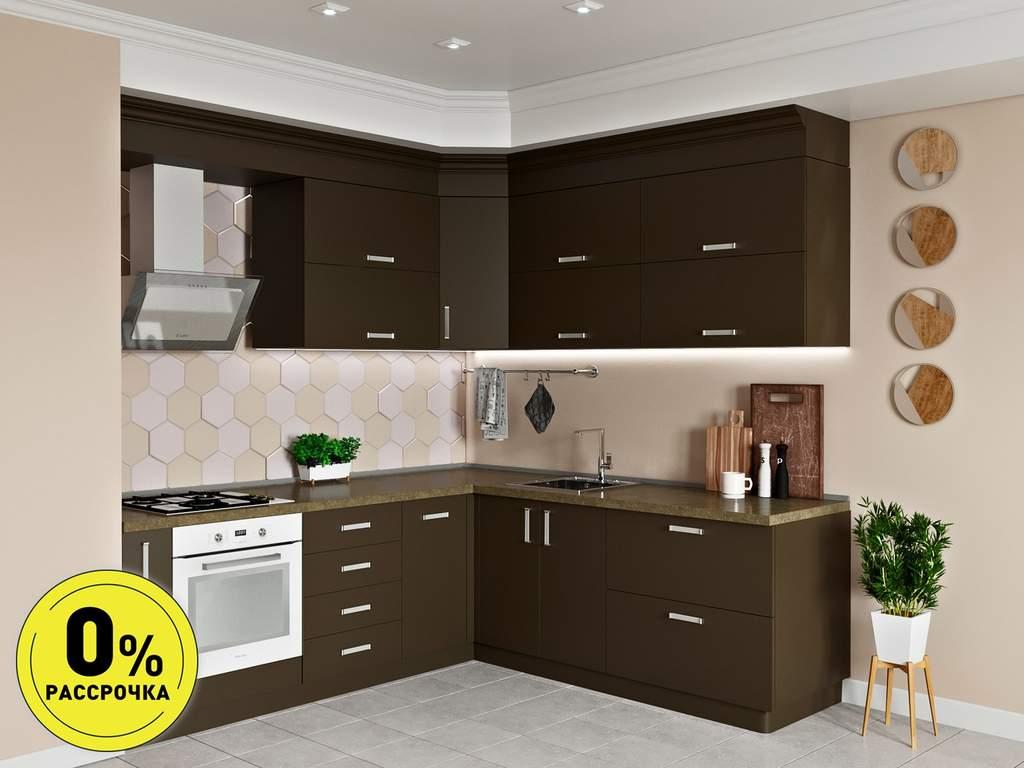 Кухня угловая ТБМ Люкс «Люсиль» (2.5x1.8 м, коричневый) Изображение