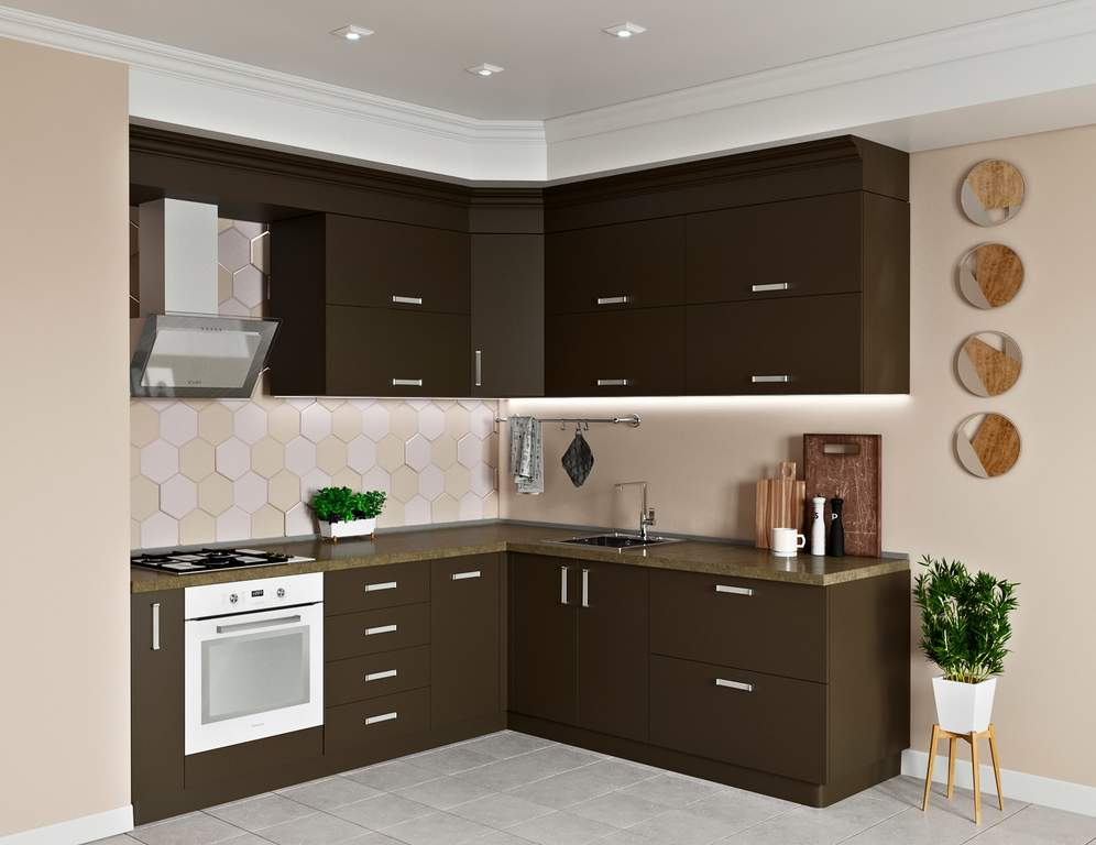 Кухня угловая, AGT матовый, коричневый Изображение