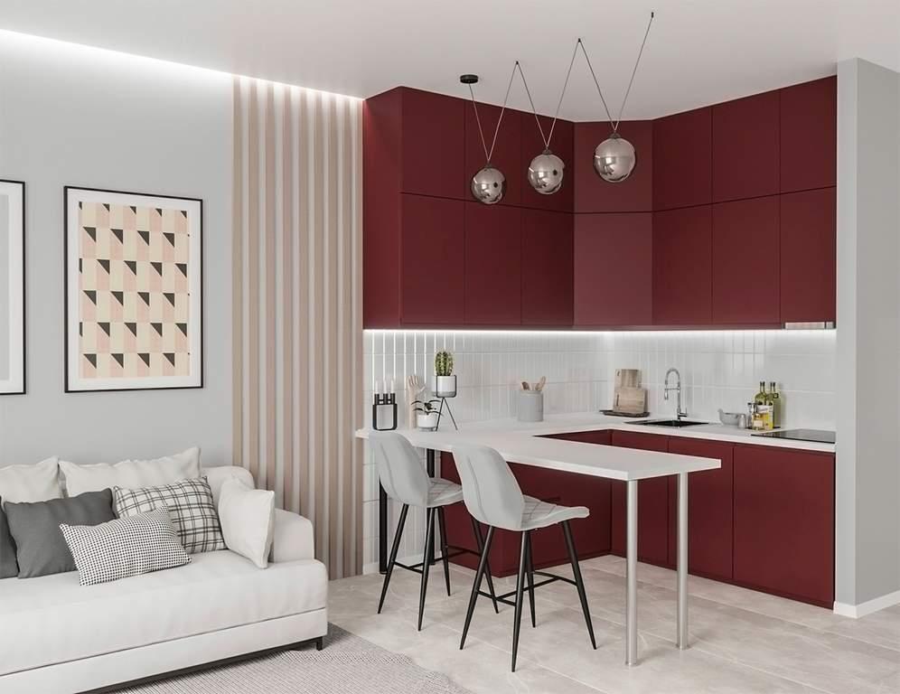 Кухня угловая, AGT матовый, красный Изображение