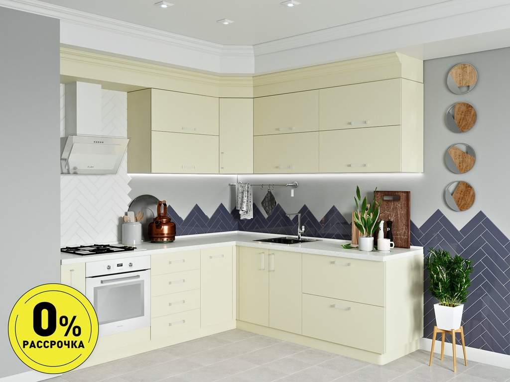 Кухня угловая ТБМ Люкс «Люсиль» (2.5x1.8 м, кремовый) Изображение