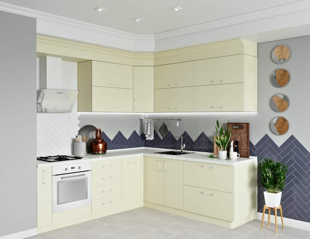 Кухня угловая, AGT матовый, кремовый Изображение