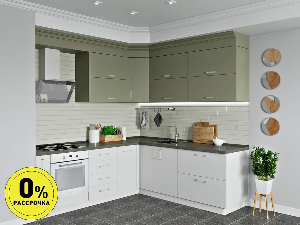 Кухня угловая ТБМ Люкс «Люсиль» (2.5x1.8 м, серый кашемир/белый кашемир) Изображение