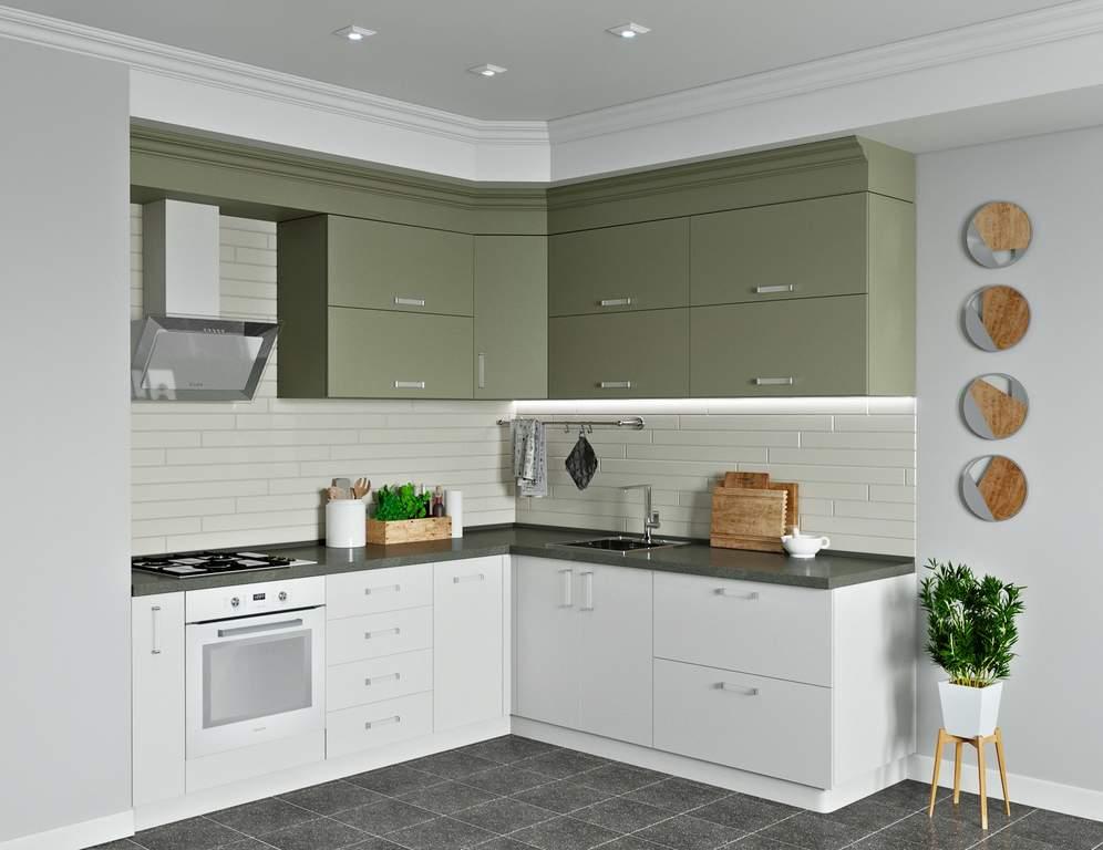 Кухня угловая, AGT матовый, серый кашемир/белый кашемир Изображение