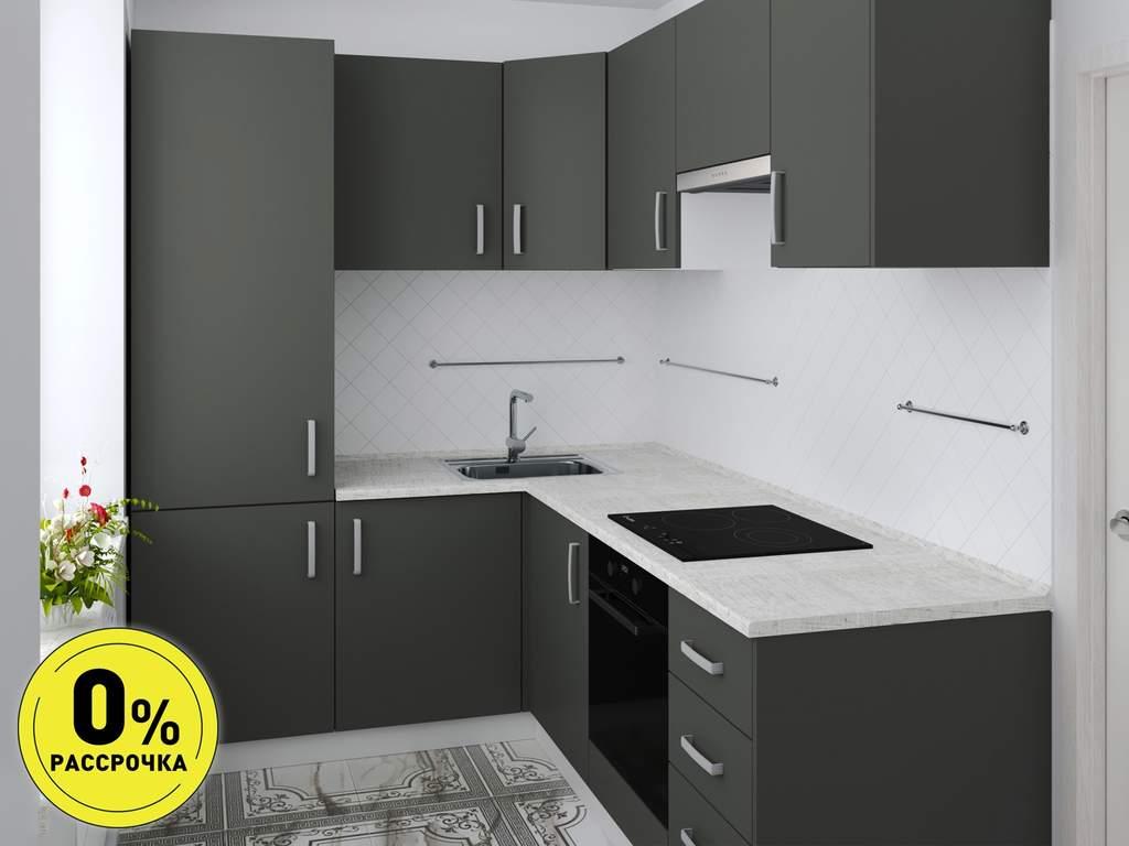 Кухня угловая ТБМ Люкс «Шеннон» (темно-серый) Изображение