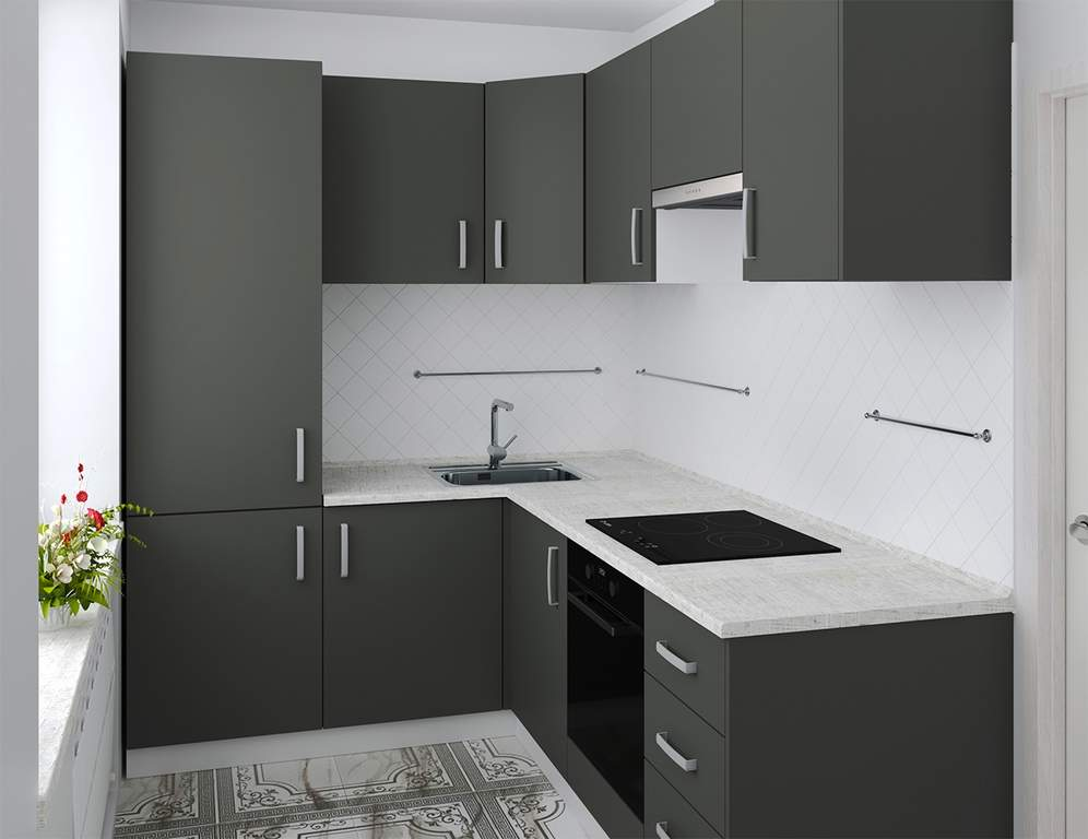 Кухня угловая, AGT матовый, темно-серый Изображение