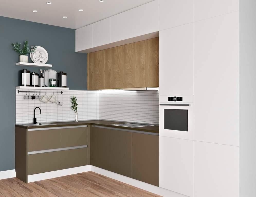Кухня угловая, Модерн AGT матовый белый/коричневый Изображение