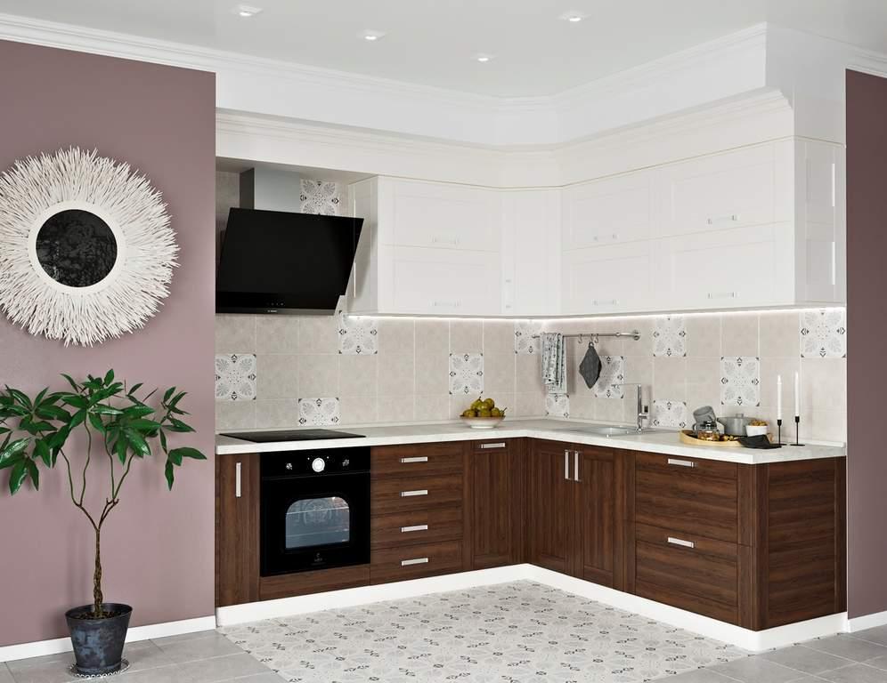 Кухня угловая ТБМ Люкс «Келли» (2.5x1.8 м, белый/древесный) Изображение 2