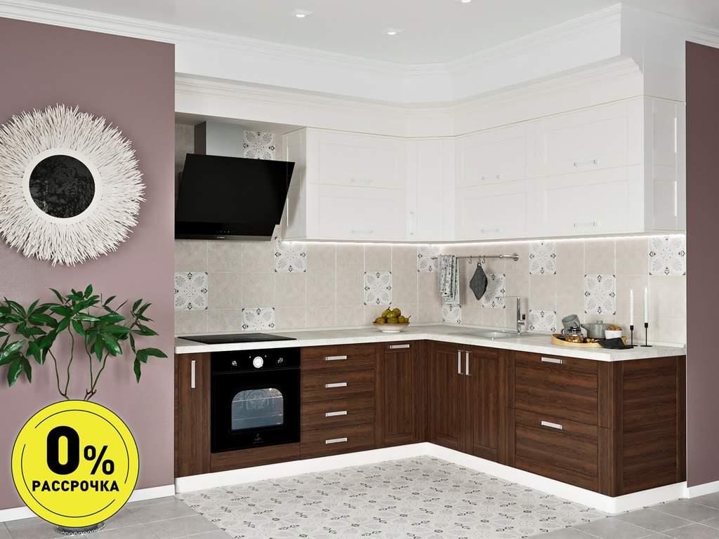 Кухня угловая ТБМ Люкс «Келли» (2.5x1.8 м, белый/древесный) Изображение