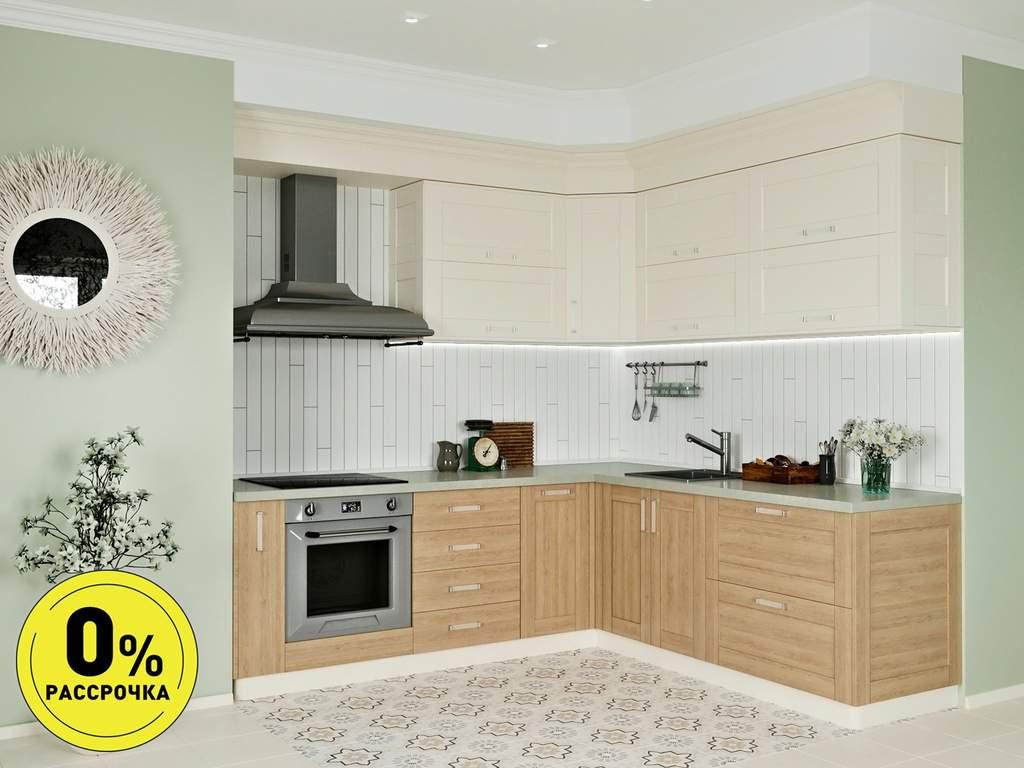 Кухня угловая ТБМ Люкс «Келли» (2.5x1.8 м, магнолия/дуб светлый) Изображение